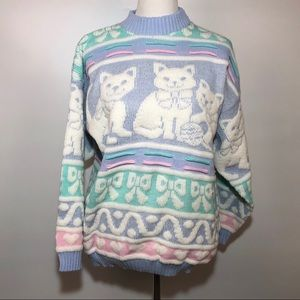 Deadstock Vtg Kawaii Fairy Kei Cat Sweater